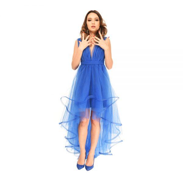 Rochie Midi Din Tull Marissa Positive Fashion Albastru Electric