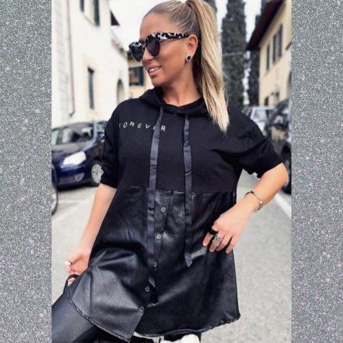 Hanorac stil camasa bumbac si piele ecologica Positive Fashion