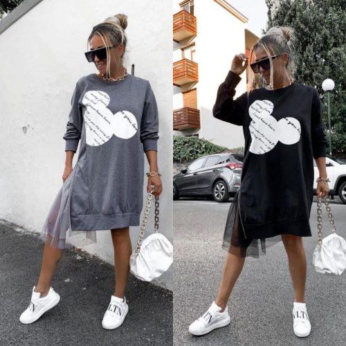 Rochie din bumbac cu imprimeu sparta pe un picior cu tull