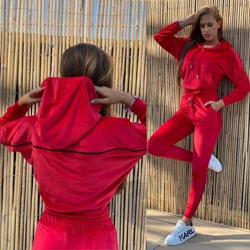 Trening Cory de catifea cu fermoar pe spate Positive Fashion